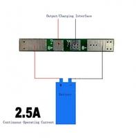 Модуль управления и защиты Li-Ion аккумулятором 1S 3.7В типа 18650 с током до 3А