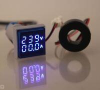 Совмещённый квадратный вольтамперметр 220V / 100A