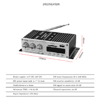 Усилитель мощности Hi-Fi стерео 2 х 20 Вт, USB плейер, Bluetooth 4,2