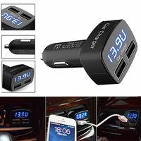 Автовольтметр термометр с двойным выходом USB 3.1 Ампера в прикуриватель